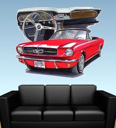 1965 Mustang Convertible Wall Decal Man Cave Mural Print 7070 Ford | eBay