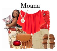 A fashion look from May 2016 featuring red crop top, mini skirts and double strap sandals. Browse and shop related looks. Disney Bound Outfits Casual, Moana Outfits, Disney Princess Outfits, Cute Disney Outfits, Disney Themed Outfits, Anime Inspired Outfits, Disney Inspired Fashion, Character Inspired Outfits, Disney Dresses