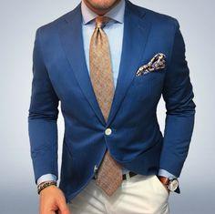 Glen Check Tie + Blue Blazer