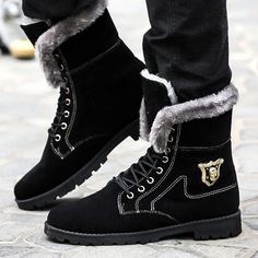 High Quality Long Winter Boots for Men Pu Leather Tall Shoes Lace Up Brown Rubber Boots with Fur 6 Long Winter Boots, Cheap Mens Boots, Mens Boots Online, Fur Boots, Casual Boots, Black Boots, Pu Leather, Men's Shoes, Lace Up