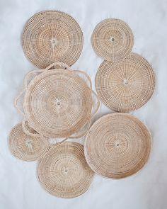 Basket Wall Hanging Set of 7 Basket Weaving, Hand Weaving, Woven Baskets, Iris, Hanging Wall Baskets, Smooth Walls, Handmade Home, Types Of Wood, E Design