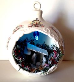 Giant Lighted Xmas Bulb Hanging Porcelain Ball Nativity Scene Vintage Christmas