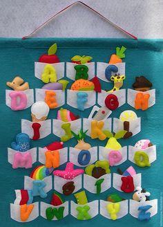 Купить Алфавит из фетра английский - разноцветный, бирюзовый, бисер, алфавит, алфавит из фетра