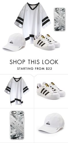 """Travel Outfit (Sporty White and Black)"" by cutie3677 on Polyvore featuring adidas Originals, Casetify and adidas"