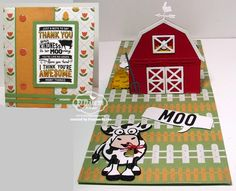 Thank Moo! created by Frances Byrne using Barn Pop Stand Card; Hey There Pop Stand Card; Brownie the Cow; Rectangle Accordion - designed by Karen Burniston for Elizabeth Craft Designs