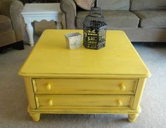 Sun Flower Yellow Coffee Table Redo With Black Glaze