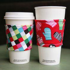 reversible, reusable coffee cozy set