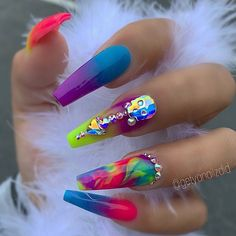 "Excellent ""acrylic nail art designs short"" detail is readily available on our website. Rhinestone Nails, Bling Nails, Swag Nails, Fabulous Nails, Gorgeous Nails, Dope Nails, My Nails, Rasta Nails, Exotic Nails"