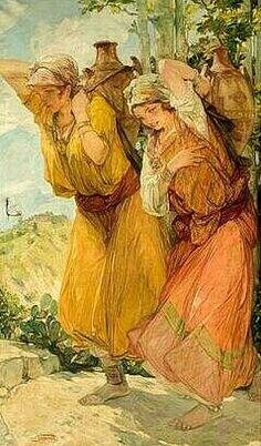 Algérie- Peintre Belge van Jules Van Biesbroeck (1873-1965), huile sur toile, Titre : Les porteuses d'eau berbères