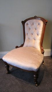 Beautifully restored period furniture at Norbury Antiques. I love this dusky pink nursing chair in the shop!