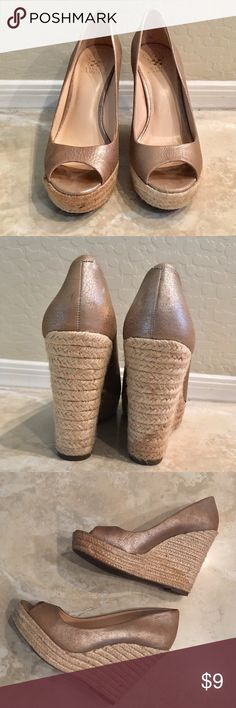 Vince Camuto Peep Toe Heels Vince Camuto Peep Toe Espadrille Heels. Really  Cute gold/taupe color with a bit of shimmer. These are really pretty and in  good ...
