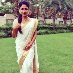 Amala Paul dressed in kerala sari for Onam
