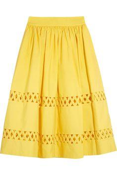 ALICE AND OLIVIA Morina Cutout Cotton-Poplin Skirt. #aliceandolivia #cloth #skirt