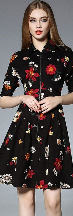 Black Zipper Floral Dress