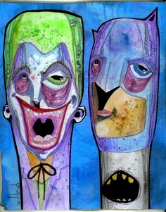 """batman & joker"" anthead 8.5X11 recycled cardboard outsider graffiti art lowbrow #OutsiderArt"