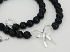 Santorini Lava Rock Bead Necklace with Sterling Silver Ribbon @sunsan  @piscesandfishes @GreekMythos #shopping