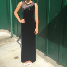 Gorgeous Black velvet dress! Black velvet dress with a sheer panel in the front and in the back. No size tag, but fits a size  x-small/small. Has side zipper, side slits on both legs. Very elegant! Please ask any questions!! Morgan & Co. Dresses Prom
