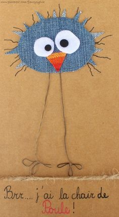 100 best images about mes creas quot la collec quo Denim Crafts, Felt Crafts, Diy And Crafts, Paper Crafts, Fabric Cards, Fabric Postcards, Sewing Crafts, Sewing Projects, Bird Quilt