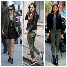 combinar-cores-verde-militar + preto Winter Fashion Outfits, Look Fashion, Autumn Fashion, Casual Outfits, Cute Outfits, Womens Fashion, Outfits Pantalon Verde, Green Pants Outfit, Olive Green Pants
