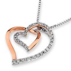 18K Rose White Gold Hollow Heart Diamond Pendant W/Silver Chain (0.22ct,G-H Color,SI1-SI2 Clarity) X1000Diamond http://www.amazon.com/dp/B00CL6KH04/ref=cm_sw_r_pi_dp_7aZsvb0V61TGM