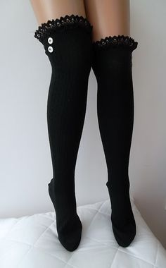 Black Leg Warmers Boot Socks  lace and button by CarnavalShop