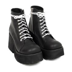 UNIF Ryder Boot ($158) ❤ liked on Polyvore featuring shoes, boots, platform shoes, real leather boots, side zip military boots, genuine leather boots and leather military boots