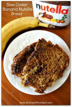 365 Days of Slow Cooking: Recipe for Slow Cooker Banana Nutella Bread @Karen Petersen