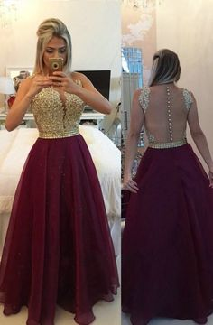 Illusion V-neck Long Sleeves Burgundy Prom/Evening Dress With Appliques Buttons