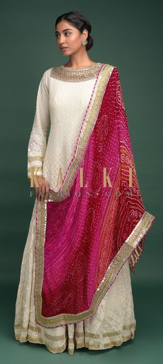 Buy Online from the link below. We ship worldwide (Free Shipping over US$100)  Click Anywhere to Tag Off-White-Anarkali-Suit-In-Georgette-With-Lucknowi-Thread-Work-And-Bandhani-Printed-Shaded-Dupatta-Online-Kalki-Fashion
