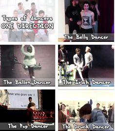 hahahahahahahhahaha one direction, 1D, liam payne, zayn malik, harry styles, niall horan, louis tomlinson, hazza, lou, nialler, harreh, tommo .xx types of dancers