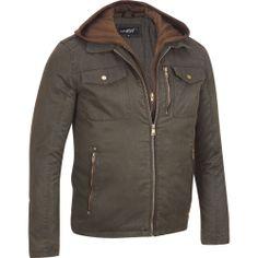 Men's Black Rivet Cotton Jacket w Remvbl Hood   eBay
