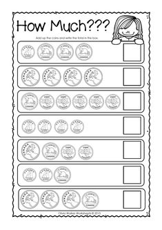 Money Worksheets / Printables / Kindergarten / Grade One / Grade Two Canadian Money Worksheets - Counting Coins !Printable Printable (noun: printability) usually refers to something suitable for printing: Counting Money Worksheets, Money Activities, Free Kindergarten Worksheets, 1st Grade Worksheets, 2nd Grade Math, Worksheets For Kids, In Kindergarten, Grade 1, Matching Worksheets