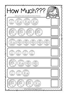 Free printable black & white worksheet. Adding Coins and