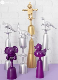 How To Make These Whimsical Trophies For Party Game Prizes Quirky Trophies For Party Games Party Game Prizes, Kids Party Games, Outdoor Party Games, Block Party Games, Circus Party Games, Summer Party Games, Backyard Party Games, Family Party Games, Birthday Party Games For Kids
