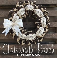 Crochet Lace Fall Welcome Door Wreath -  Rustic Country Shabby Chic Thanksgiving…