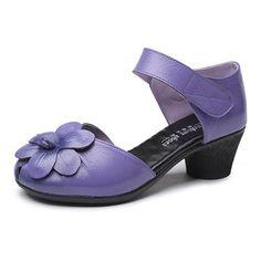 SOCOFY Flower Block Hoop Loop Soft Leather Sandals
