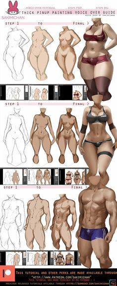 How to: paint thick Pinup voice over tut. by sakimichan on DeviantArt Digital Painting Tutorials, Digital Art Tutorial, Art Tutorials, Digital Paintings, Body Reference, Anatomy Reference, Drawing Reference, Anatomy Drawing, Human Anatomy