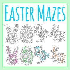 Easter Mazes Clipart Set - 4 pieces of black and white / line art / blackline master clip art in a pack or bundle for your worksheets or educational resources.  All images or pictures are high resolution so you can have large illustrations of them and they'll still be clean and beautiful.Images are in PNG format with a transparent background (there aren't white areas around the outside edge) so they can be dropped into your documents easily, and layered with text or other images.