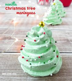 Christmas Meringue Cookies---honestly I make these all year long--whenever I have a recipe that uses only yolks...I always whip these up (just not always tree shaped!  LOL) with the leftover egg whites.