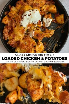 Loaded Air Fried Chicken and Potatoes Put your air fryer to good use with this cheddar and bacon smothered air fried chicken and potatoes recipe. It makes for a quick and easy dinner for two with 37 grams of protein and only 330 calories per serving. Air Fryer Dinner Recipes, Air Fryer Oven Recipes, Easy Dinner Recipes, Air Fryer Recipes For Chicken, Air Fryer Recipes Potatoes, Quick Chicken Recipes, Recipe Chicken, Easy Recipes, Cheddar