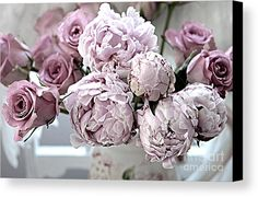 Paris Shabby Chic Peony Photography Canvas Print featuring the photograph Paris Vintage Style Peonies Art - Parisian French Peonies And Roses - Lavender Peonies And Roses by Kathy Fornal