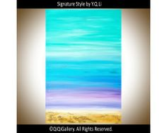 """""""Blissful Beach Days"""" by QIQIGALLERY 24""""x36"""" Original Painting, $199.00"""