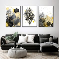 Set of 3 downloadable prints yellow grey geometric wall art  #geometricart #printableart #livingroomart #yellowblackgrey #trendingartnow #urbanepiphany