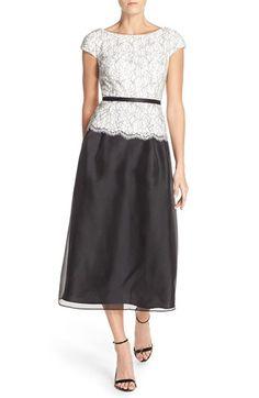 Alex Evenings Belted Lace & Organza Midi Dress (Regular & Petite)