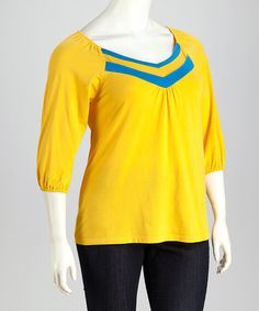 Look what I found on #zulily! Yellow Chevron Top - Plus by Avital #zulilyfinds