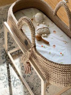 Beige Baby Moses Basket, Gender Neutral Beige Custom made baby bassinet