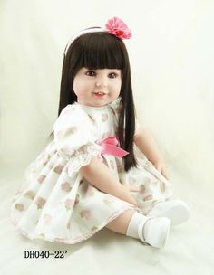 111.31$  Watch here - http://alidki.worldwells.pw/go.php?t=32541519449 - Fashion 55cm silicone vinyl reborn baby doll lifelike reborn newborn princess toddler doll kid high-end christmas boutique gifts