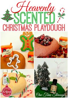 Find recipes for 4 heavenly SCENTED Christmas playdoughs including Cranberry Sauce, Gingerbread Cookie, Christmas Tree, and Peppermint Candy Cane! {One Time Through} #playdough #Christmas