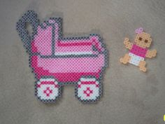 Baby Carriage  Baby Girl perler fuse beads by Cindy Bell