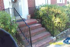 wrought iron handrail for the porch steps. Porch Railing Kits, Aluminum Porch Railing, Wrought Iron Porch Railings, Outdoor Stair Railing, Porch Stairs, Balcony Railing, Iron Handrails, Brick Steps, Outdoor Steps